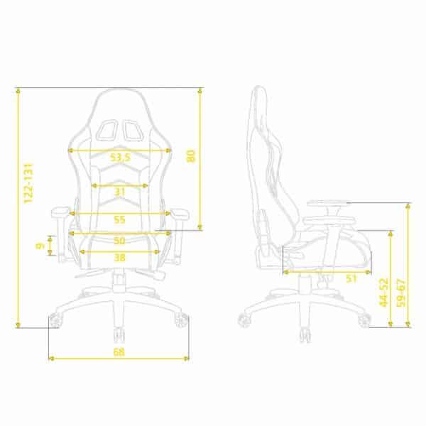 Silla Gamer Profesional Kronos Hunter Light-medidas