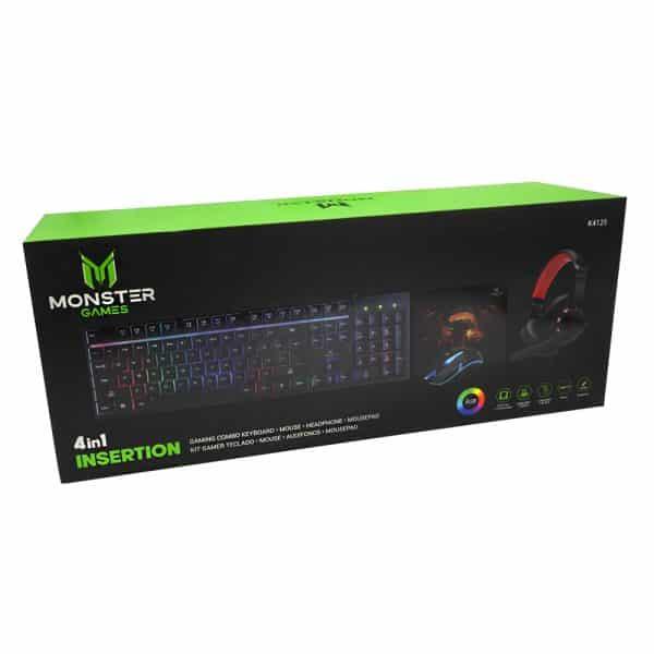 Kit 4 en 1 Monster Games Insertion K4125: Teclado + Audífonos + Mouse + Mousepad-4