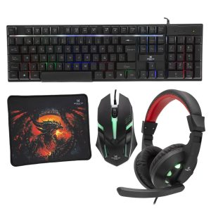 Kit 4 en 1 Monster Games Insertion K4125: Teclado + Audífonos + Mouse + Mousepad