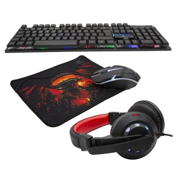 Kit 4 en 1 Monster Games Insertion K4125: Teclado + Audífonos + Mouse + Mousepad-1