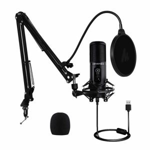 Kit Micrófono condensador AU-PM421, entrada USB (Brazo, Anti-pop, anti-shock)