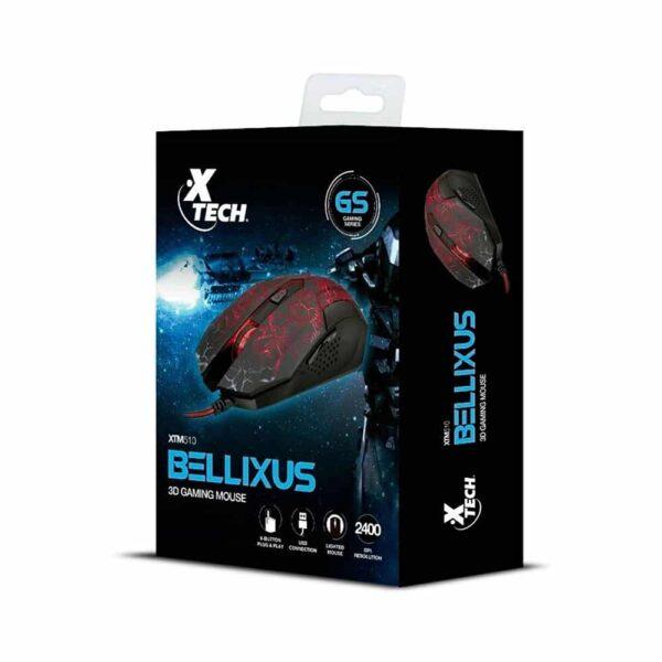 Mouse Gamer Xtech Bellixus (2.400dpi, LED Multicolor, Negro)
