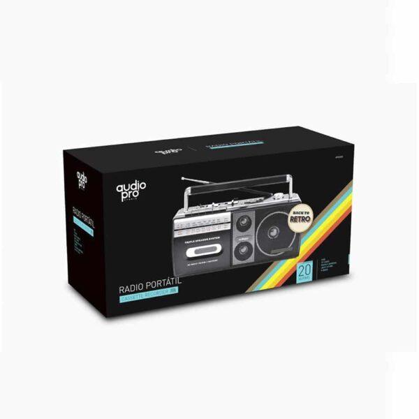 Radio Cassette AudioPro AP02077, portátil, USB, 20W, X Bass-2