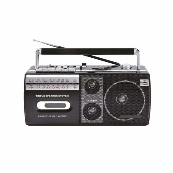 Radio Cassette AudioPro AP02077, portátil, USB, 20W, X Bass