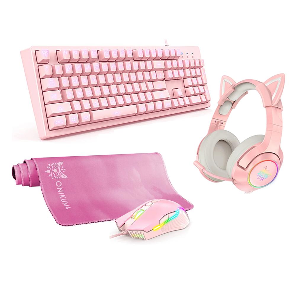 Cyber Pack Pink 4 en 1-Audífonos + Teclado + Mouse + Mousepad